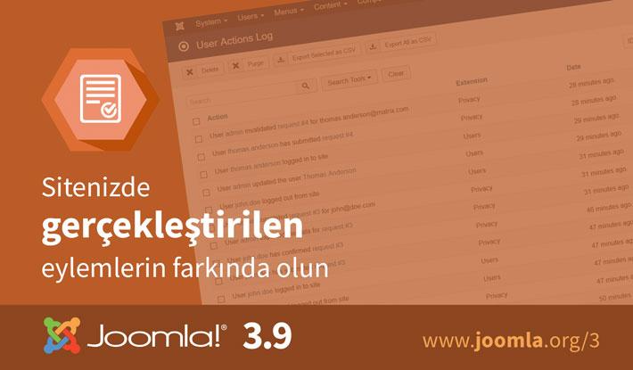 Joomla! 3.9 Kullanıcı Eylem Günlükleri