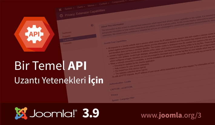 Joomla! 3.9 Uzantı Yetenekleri İçin Temel API